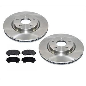 Front Disc Brake Rotors & Ceramic Pads 14-18 for Nissan Rogue with 2 Row Seating