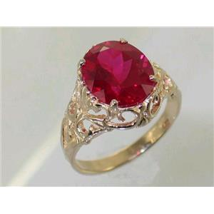 R114, Created Ruby, Gold Ring