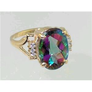 R020, Mystic Fire Topaz, Gold Ring