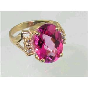 R020, Pure Pink Topaz, Gold Ring