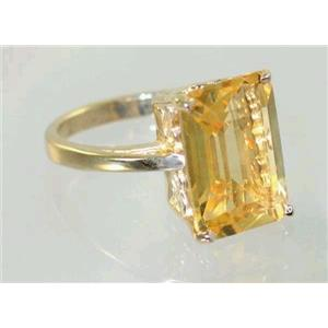 R189, Genuine Citrine, Gold Ring