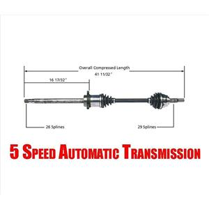 Passenger Side CV Shaft Axle for Quest 04-09 5 Speed Automatic Transsmission