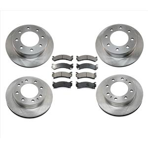 FRONT & REAR 4 Brake Rotors & 2 Ceramic Pads for 03-09 Hummer H2