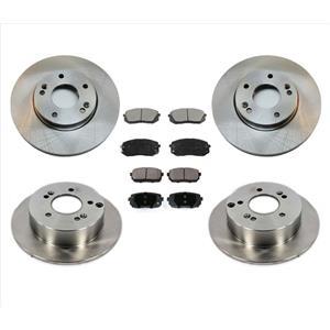 Front & Rear Disc Brake Rotors & Ceramic Brake Pads 6pc for Kia Rondo 2010-2012