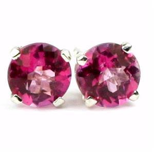 925 Sterling Silver Earrings, Pure Pink Topaz, SE012