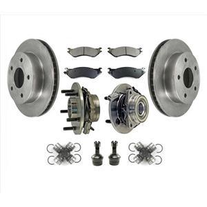 Hub Bearings U Joints BJ Rotors for 00 01 Ram 1500 Pick Up 4 Wheel Drive 4W ABS