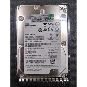 "HP 759202-003 600GB 2.5"" 12Gb/s SAS 15K HDD ST600MP0005 w/ Tray 759548-001"