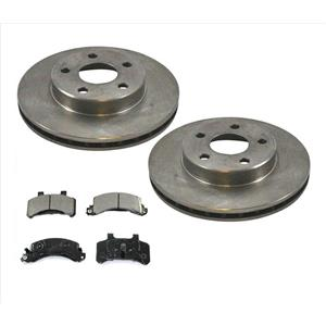 For 85-91 Cavalier 85-90 Grand Am Front Disc Brake Rotors & Ceramic Pads 3pc Kit