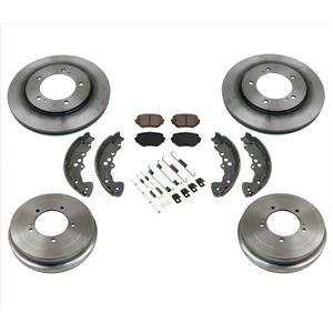 Front Brake Disc Rotors Pads Brake Drums Shoes Springs Kit for 05-06 Suzuki XL-7