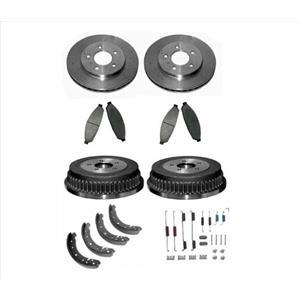For 97-00 Dodge Caravan Models With Rear Drums Brakes Rotors Pads Brake Shoes
