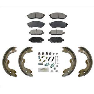 For 08-12 Infiniti EX35 Ft & Rr Ceramic Brake Pads + Parking Shoes Springs 4Pc