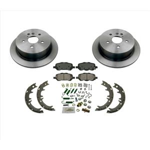 Rear Brake Rotors & Ceramic Pads Parking Brake Shoes 5PC Kit 09-15 Toyota Venza