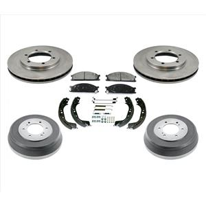 Fits 98-04 Frontier 2.4L Rear Wheel Drive Rotors Pads Brake Drums Shoes 7Pc Kit