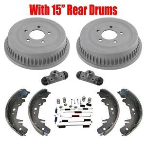 """15"""" Drums Shoes Cylinders Springs for Chrysler Voyager 96-07 Front Wheel Drive"""