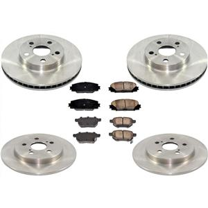 Front & Rear Rear Disc Brake Rotors & Ceramic Brake Pads for 09-15 Prius