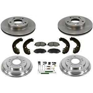 Fits 06-11 Civic DX LX Rotors Ceramic Pads Drum & Brake Shoes + Combi Kit 7Pc