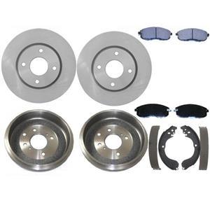 Front Brake Rotors & Pads Rear Brake Drums Shoes Set Kit For 2009-2014 Cube