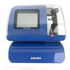 Amano PIX-200 Time Clock Time/Date Recorder W/ Power Supply - NO KEY