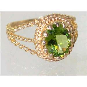 R070, Genuine Peridot, Gold Ring