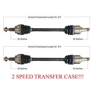 Rear Left & Right CV Axles Fits 11-12 Jeep GRAND CHEROKEE 2 Speed Transfer Case
