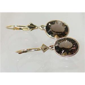E101, Smoky Quartz, 14k Gold Earrings