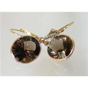 E201, Smoky Quartz, 14k Gold Earrings