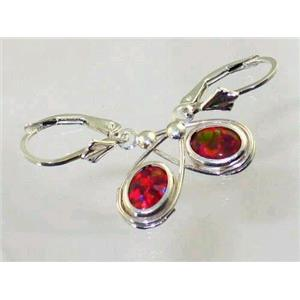 SE008, Created Red/Brown Opal, 925 Silver Earrings