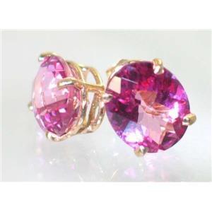 E202, Pure Pink Topaz, 14k Gold Earrings
