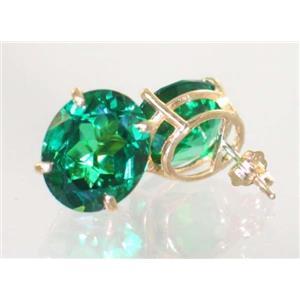 E202, Russian Nanocrystal Emerald, 14k Gold Earrings