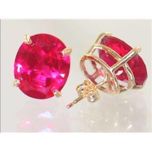 E202, Created Ruby, 14k Gold Earrings