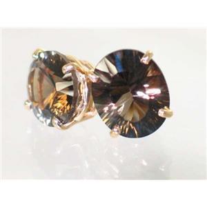E202, Smoky Quartz, 14k Gold Earrings