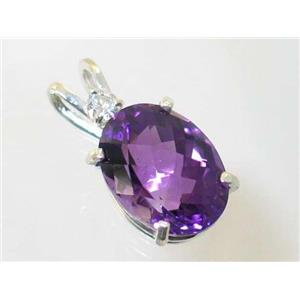 SP018, Natural Amethyst 925 Sterling Silver Pendant