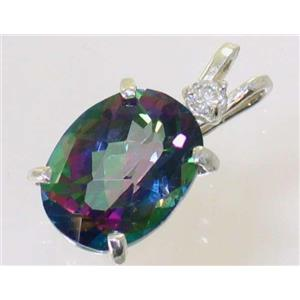 SP018, Mystic Fire Topaz 925 Sterling Silver Pendant