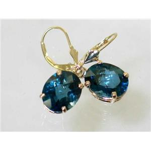 E207, London Blue Topaz, 14k Gold Earrings