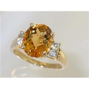 R123, Genuine Citrine, Gold Ring