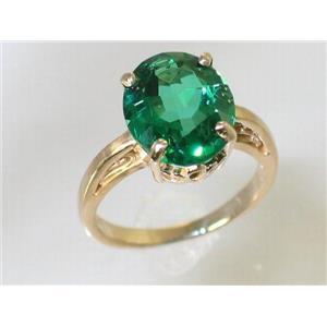 R055, Russian Nanocrystal Emerald, Gold Ring