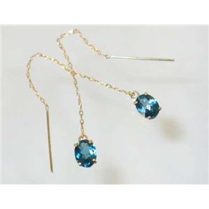 E003, London Blue Topaz, 14k Threader Earrings