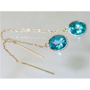 E105, Teal Topaz, 14k Gold Threader Earrings