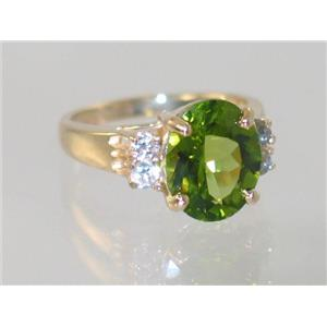 R123, Genuine Peridot, Gold Ring