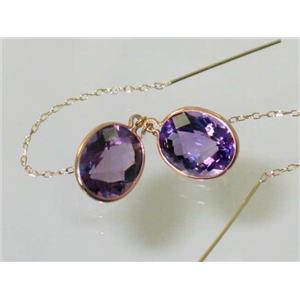 E205, Amethyst, 14k Gold Threader Earrings
