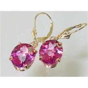 E207, Pure Pink Topaz, 14k Gold Earrings