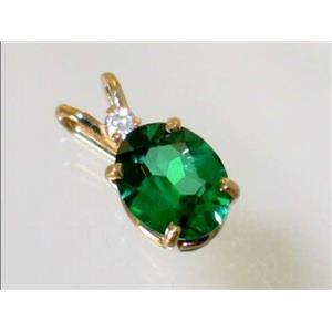 P020, Russian Nanocrystal Emeraldl, 14k Gold Pendant