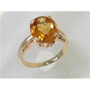 R055, Genuine Citrine, Gold Ring