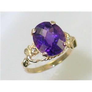 R154, Amethyst, Gold Angel Ring