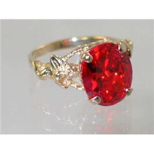 R154, Created Padparadsha Sapphire, Gold Angel Ring