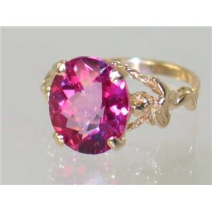 R154, Pure Pink Topaz Angel, Gold Ring