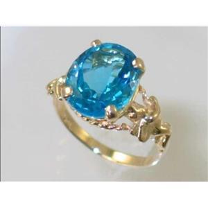 R154, Swiss Blue Topaz, Gold Angel Ring