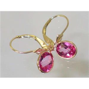 E001, Pure Pink Topaz, 14k Gold Earrings