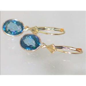E001, Neptune Garden Topaz, 14k Gold Earrings
