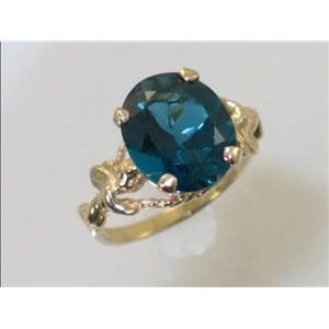 R154, London Blue Topaz, Gold Angel Ring